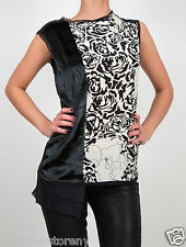 Winter Kate Rosette Sleeveless Silk Crepe Top w/Black Sealskin & Chiffon Blouse