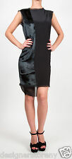 Winter Kate Sleeveless Silk Crepe Mini Dress w/Sealskin Panel