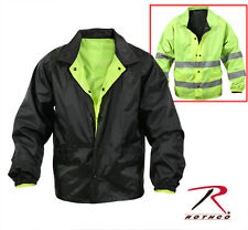 Reversible Hi-Visibility Reflective Yellow Black Police Security Jacket Coat