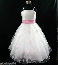 Pinks Baptism Christening X'mas Event Flower Girls Dresses SIZE 1,2,3,4,5,6,7,8T