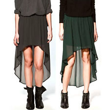 Summer Fashion Women Girl Chiffon Pleated Skirt Asymmetric Long Maxi Skirt Dress