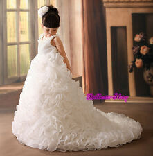 Satin Organza Tiered Dress w/ Train Wedding Flower Girl Pageant Size 2T-10 FG238