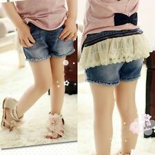 New Toddlers Kids Girls Disassemble Lace Skirts Denim Shorts Pants 3-8 Y P017