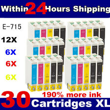 30 COMPATIBLE INK CARTRIDGES FOR EPSON STYLUS PRINTER ( 6 FULL SETS + 6 blacks )