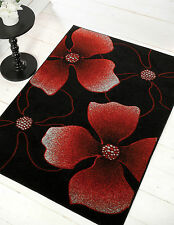 Very Large Modern Hand Carved Black Red Burgundy Rug in 3 Different Sizes Carpet
