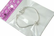 European Bead Starter Kit, Silver Plated Snake Bracelet with 10mm Crystal Bead