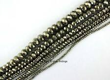 Natural Roundle Faceted Pyrite Gemstone Beads 15""