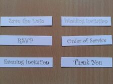 Choice of Wedding Invitation Banners, Foil Silver Writing on White Linen, S.Edge