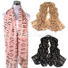 New Womens Girls Letter Print Candy Color Large Long Soft Scarf Wrap Shawl Stole