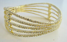 NEW-HANDCRAFTED INDIA GATHERED GOLD TONE+SWAROVSKI CRYSTAL BANGLE,BRACELET