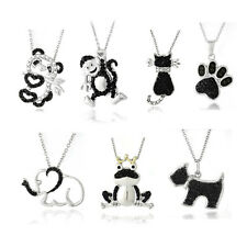 Black Diamond Accent Animal Necklaces - 13 Styles
