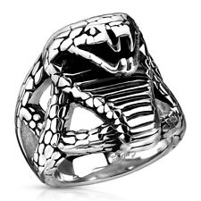 316L Stainless Steel Men's Fierce Cobra Snake Cast Ring Size 9-14