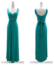 I1 BLUE GREEN LONG Crossover Faux Wrap Dress Vintage Maxi Full Length S M L XL