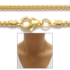 14K Gold over Sterling Silver Round Box Chain Necklace 1.8mm 140 gauge