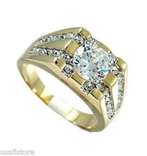 Mens 8mm Simulated Diamond 18kt Gold Plated Classic Ring Size 13