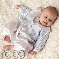 Baby Boys Blue White Checkered Romper Christening Suit Jacket Hat Age 0-12m