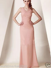 Manual Customized Sexy Sleeveless Slimmed Pink Wedding Party Long Dress