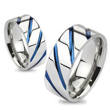 Solid Ti Titanium Blue Diagonal Stripe Wedding Band Ring Size 5-13