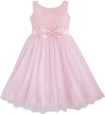 Girls Dress Rose Flower Pink Wedding Bridesmaid Child Clothes Size 2-12 New
