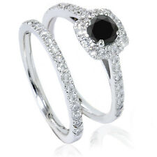 1.25CT Cushion Halo Black Diamond Engagement Ring Set 14K White Gold