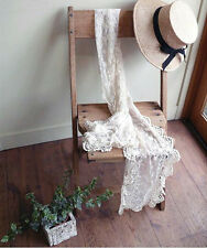Women Lady Girl Lace White Crochet embroidery trimming long Scarf Wrap gift