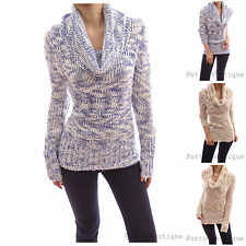 Cowl Neck Long Sleeve Ribbed Hem Multi Color Pullover Open Knit Sweater