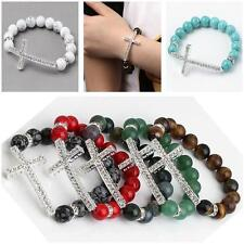 1pc Natural Gemstone Silver Cross Crystal Spacer Bead Bangle Bracelet Lucky Gift