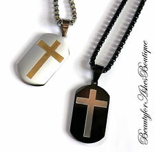 """Beauty for Ashes® 24"""" Mens Chain Black Stainless Steel Necklace Dog Tag Choice"""