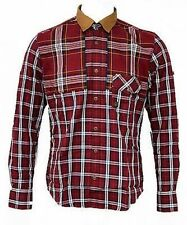 Mens Duck and Cover Stewart Long-Sleeved Red Checkered Shirt