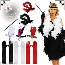 LADIES NEW 1920s 20s TWENTIES FLAPPER CHARLESTON GATSBY FANCY DRESS COSTUME SET