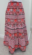 Orange brown cream aztec floral print cotton maxi long skirt 8 10 12 14 16 18