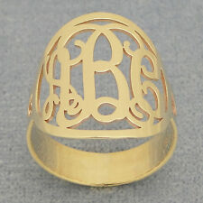 10kt 14kt Solid Gold 3 Initial Monogram Circle Ring Bridesmaids Gifts NR33