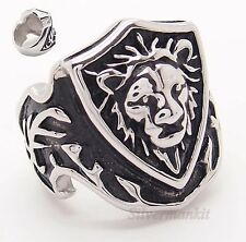 Men's Noble Lion King Shield Stainless Steel Ring Size 8,9,10,11,12,13