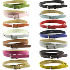 New Multi Color Womens Thin Skinny Belt Hot Ladies Faux Leather Strap Waistband