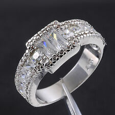 Jenny G Jewelry Size 8-11 Hi-Q Men's White Sapphire 10KT White Gold Filled Ring