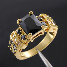 Size 8-12 Classic Jewelry Mens Black Sapphire 10KT Yellow Gold Filled Ring