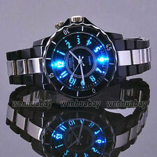 New Ohsen Black/white Steel LED light Men boy Quartz Sport Dial Wrist Watch Gift