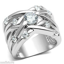 Ladies 0.85ct Clear Center Stone Silver Rhodium Plated Cluster Ring Size 6
