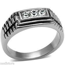Mens Three Top Grade Crystal Stone Silver Stainless Steel Ring