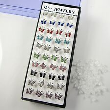 Wholesale Lots 40Pcs 925 Solid Silver Mixed Color Crystal Ear Stud Earrings