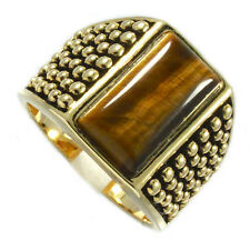 Mens Genuine Tiger Cat Eye Stone 18kt Gold Plated Ring