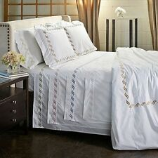 Scroll Embroidery 300 Thread Count Cotton Percale Sheet Set