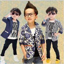 New Toddlers Boys Small Suit Korean Style Jacket Kids Coat Formal Clothes 2-7Y