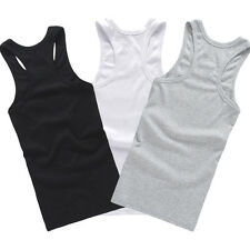 Top Quality Cotton Mens A-Shirt Wife Beater Ribbed Tank Top Muscle 3pcs set