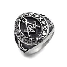 Stainless Steel Silver Masonic Ring Size 8 9 10 11 12 13 14 15 R396