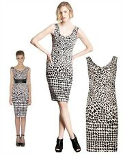 $815 McQ ALEXANDER MCQUEEN DRESS LEOPARD / HOUNDSTOOTH PRINT STRETCH SHEATH