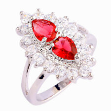 Gril's Pear Cut Ruby Spinel & White Topaz Gemstones Silver Ring Size 6 7 8 9 10