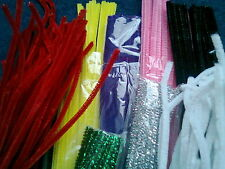 "50 VELVET FUR CHENILLE or GLITTER TINSEL CRAFT PIPE CLEANERS 12"" 30 cm x 6 mm"