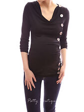 Cowl Neck Buttons Down Long Sleeve Maternity Nursing Tunic Blouse Top