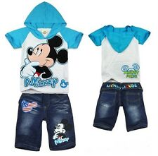 Mickey Mouse Toddlers Kids Boys Girls Hoodies T-shirt+Jean shorts Suits 2-8Y